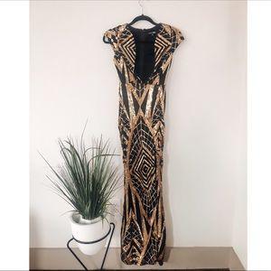 Beautiful Gold Sequin Maxi Dress
